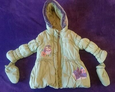 girls coat with detatchable gloves, Marks and Spencer age 2-3