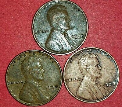 1936 - 1938 Philadelphia Mint Lincoln Wheat Cents   ID #5-12,14,15