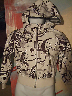 H&m - White/black Fully Linedzip Up Hooded Outdoor Jacket Size 158