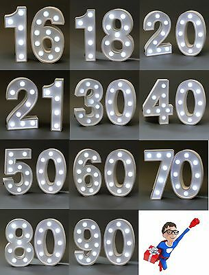 Light Up Birthday Age Party Sign | Led | Battery | White | 22.8Cm Free Delivery