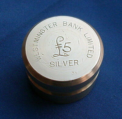 Vintage Brass Westminster Bank £5 Silver Coin Weight