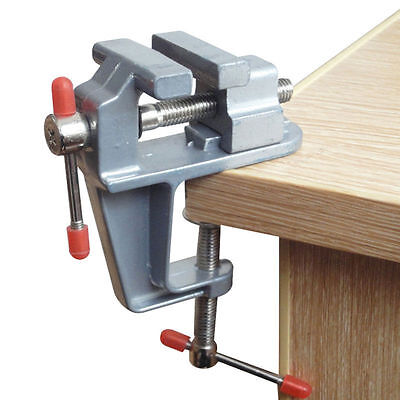 Aluminum MiniAture Small Jewelers Hobby Clamp On Table Bench Vise Tool Vice 30mm