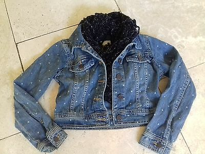 Girls cropped denim jacket with scarf