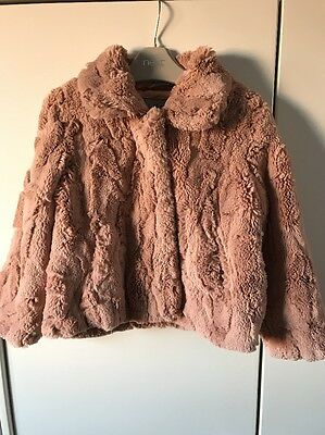 NEXT Girls Dusky Pink Faux Fur Coat Jacket Age 3-4 Christmas Party VGC