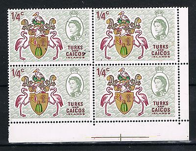 Turks and Caicos Islands 1971 Issue Fine Mint Hinged 1/4c block of four stamps.
