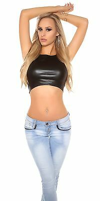 Sexy Wetlook Crop Top Damen Oberteil Lederlook schwarz bauchfrei Shirt S M 36 38