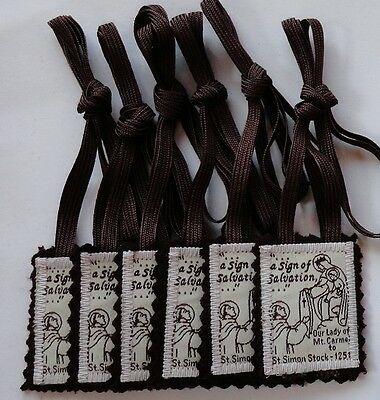 Our Lady of MT. Carmel 100% Brown Wool Catholic Scapular (6 scapulars for $9.00)