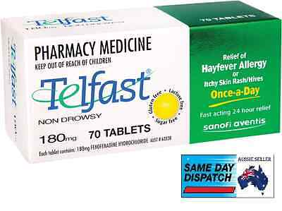 TELFAST 180mg 70 tablets Relief of Hayfever Allergy Itchy Skin Rash CHEAPEST New