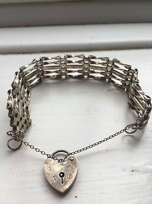 Vintage Silver, 925, Gate Bracelet With Heart Padlock And Safety Chain