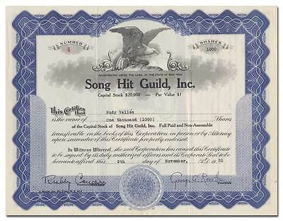 Song Hit Guild, Inc. Stock Certificate, Issued to Rudy Vallee