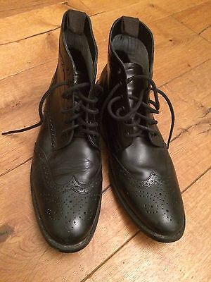 Men's black leather brogues shoes/ boots great quality! size 10; hardly worn