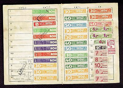 Czech Republic Revenue stamp booklet Clensky Prukaz 1950 many different stamps