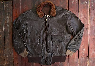 VTG 1950s L.W FOSTER US NAVY GOATSKIN LEATHER TYPE G-1 FLIGHT JACKET BOMBER 42