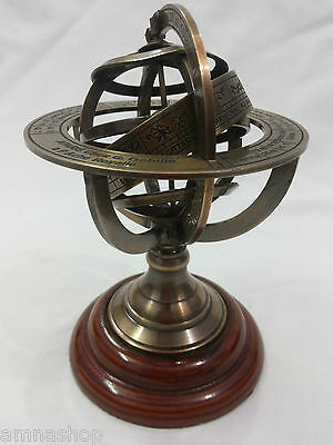 Antique Nautical Brass Armillary Horoscope World Globe Table Top Decorative