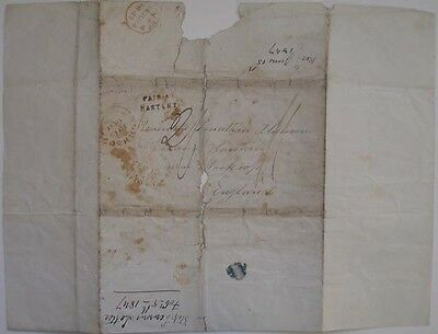 1847 Australia Ship Letter Post Hartley Nsw Sydney To Worksop England Cover Only