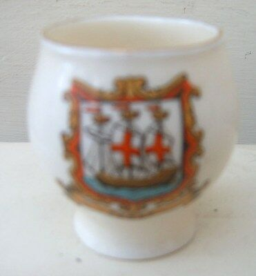 W H Goss Crested China Model of Colchester Vase. Fowey Crest FREE UK POST