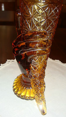 Vintage  Heavy Dark Amber Hand Holding Patterned Cornucopia With Scalloped Edge
