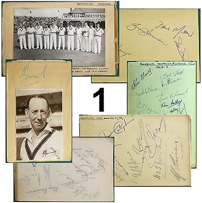 1950-60s Cricket Autographs England Australia (+ Bradford Northern Rugby League)