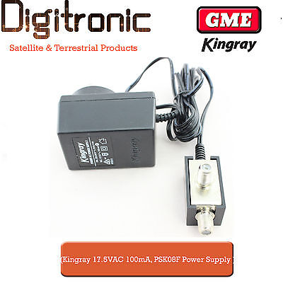 Kingray 17.5V AC 100mA Power Supply PSK08F for Digital Antenna Boosters/Amps