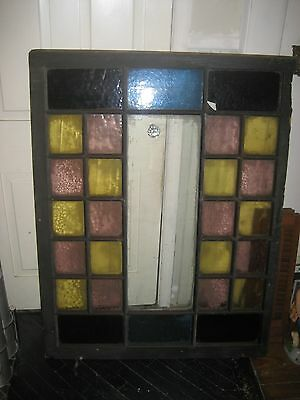 """Antique Vintage Stained Glass Window Architectural Salvage Hvy Wood 51"""" by 39"""""""