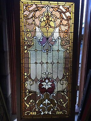 Sg 919 Antique Restored Gorgeous Stain Glass Landing Window With Jewels