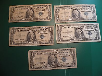 1957 Silver Certificate US series $1 one Dollar Bill  lot of 5 T39