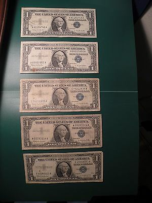 1957B series US Silver Certificate $1 one Dollar Bill  5 pieces S14
