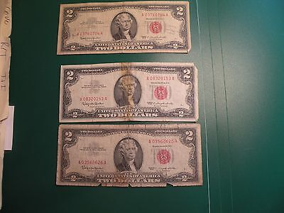 1963 US red seal $2 TWO Dollar Bill lot of 3 bills  S50