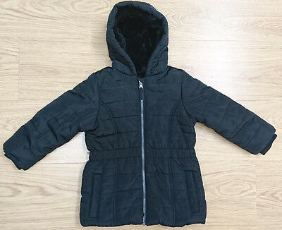 Marks & Spencer Girls Coat Jacket Age 3-4 Years Black Fur Lined Quilted