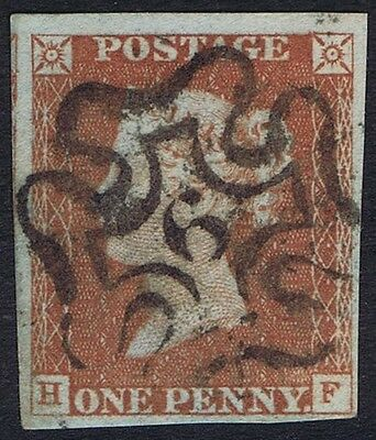 1841 1d Red-Brown Pl 29 HF 4m Fine Used London No 9 in Cross Cat. £180.00