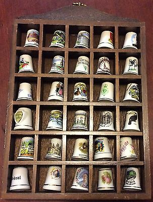 Collection Of 30 China Thimbles In Excellent Condition In Wooden Display Case.