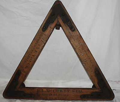 Antique D. L. McCurdy & Co Lynn Mass 3 Wheel Industrial Dolly Wood & Cast Iron