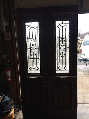 Grb 5 1Pair Antique Double Door Beveled Glass Chestnut Decorative Drip Edge