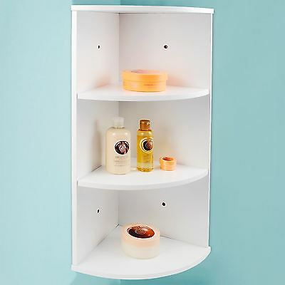 3 Tier Corner Shelving Unit White Wooden Shelves Storage Wall Kitchen Bathroom