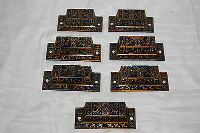 7 Victorian Ornate Eastlake Cast Iron Dresser Drawer Bin Pull Handle Knobs