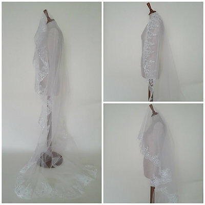 DIY Lace Wedding Veils Cathedral Full Length Ivory Cheap Single Tier One Layer