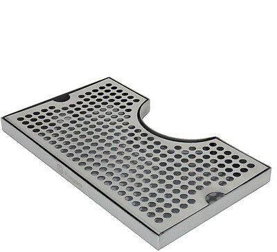"12"" x 7"" Stainless Kegerator Beer Drip Tray With Cut Out  No Drain"