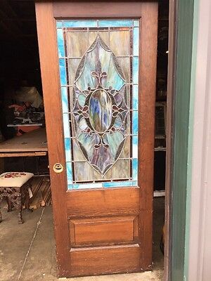 "Grb 4 Raised Panel Pine Stain Glass Door 30"" X 80"" Gorgeous"