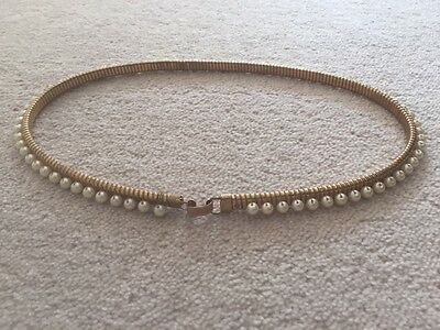 Vintage Ladies Beaded/Gold colour Stretch Belt. Size Small. Wedding belt