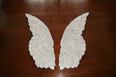 REDUCED! Distressed Shabby Chic Wood Carved Angel Wings Wall Sculpture Plaques