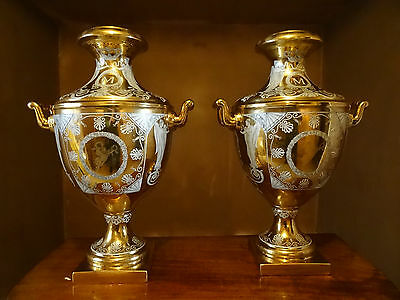 Large Pair Of Stunning Gilt Neo-Classical Style Handled Porcelain Vases