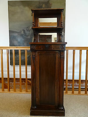 EXQUSIUTE 19thc REGENCY ROSEWOOD BRASS INLAID PEDESTAL PIER DISPLAY CABINET