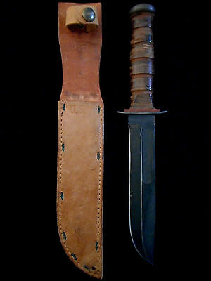 EARLIEST VERSION--US WW II ROBESON USN Mark 2 Fighting Knife -Red Spacer/BOYT 43