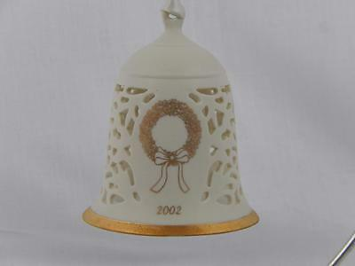 2002 Wedgwood Christmas Wreath Etched Bell, Pierced , In Box, GC