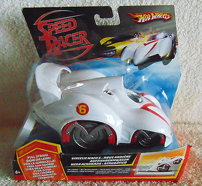 Speed Racer Mach 6 Wheelie - Pull String - Hot Wheels - New