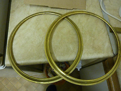 "New Old Stock--2 Brass Wheel Barometer Bezels For 10"" Dials (7)"