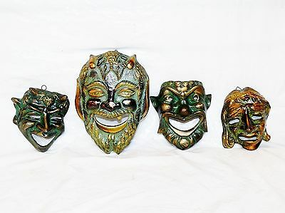 Lot of 4 Vintage Museum Quality Greek Bronze Tragedy Comedy Mask Wall Hanging