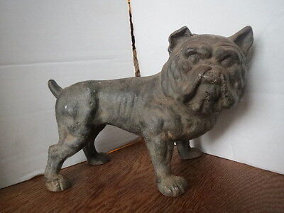 Antique 1920's CAST IRON English BULL DOG Crimped Ear DOORSTOP Hubley?