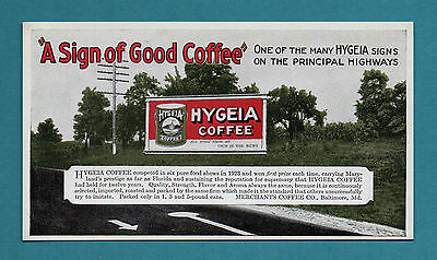 """HYGEIA COFFEE (Baltimore MD) Unused Blotter -1920's, 3½""""x6¼"""", Great Condition"""