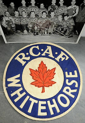 1948-49 RCAF Flyers Whitehorse Hockey Game Worn Jersey Crest/Patch + Team Photo